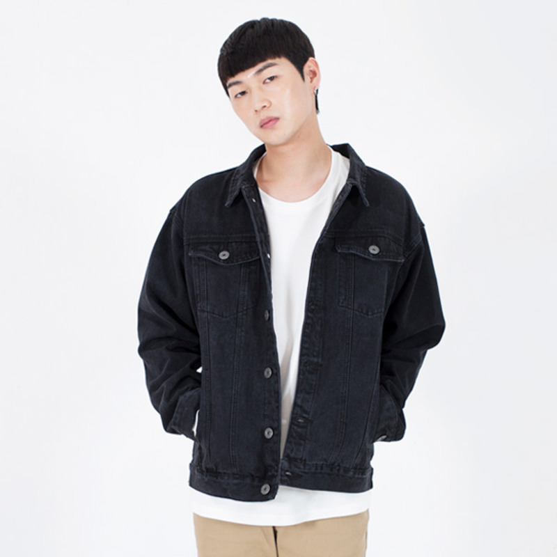 2724 Washing denim jacket (Black)