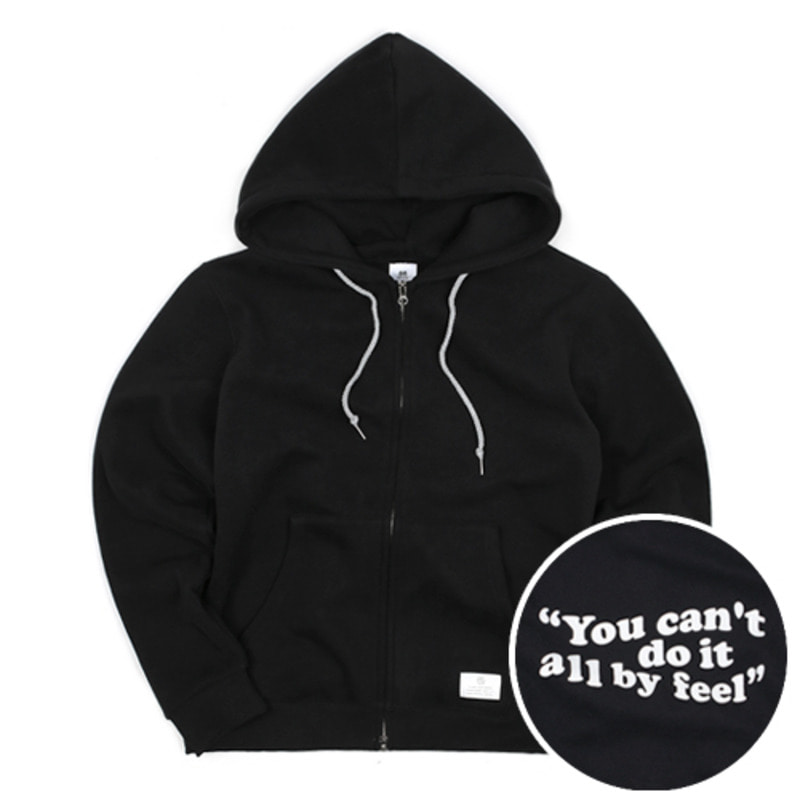 2804 Wave logo hood zip-up(Black)