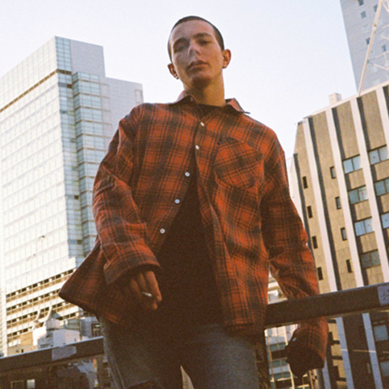 2806 Oversize check shirt(Red)