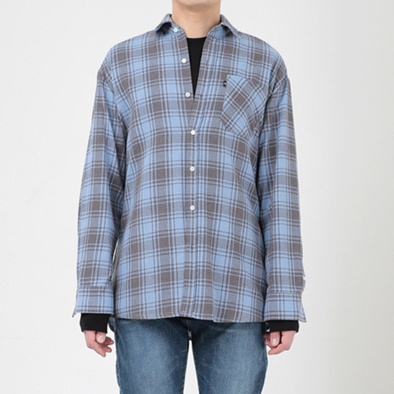 2806 Oversize check shirt(Blue)