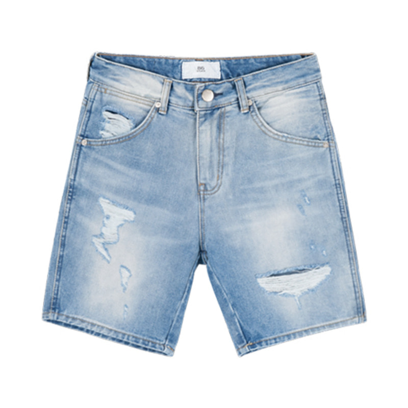 86RJ-1613 Washing destroyed denim shorts