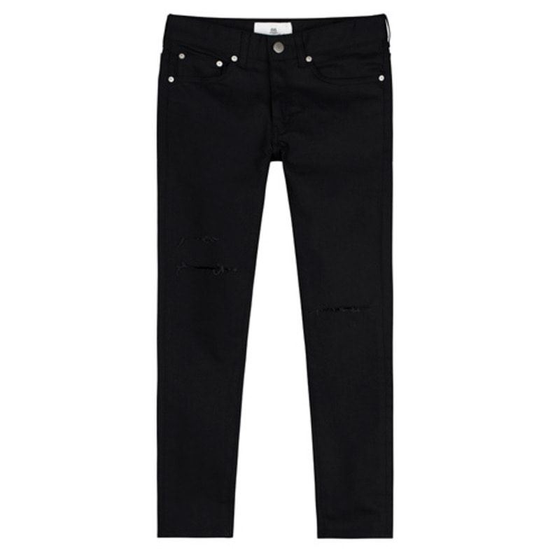 1612 black cutting washing jeans / 무릎컷팅