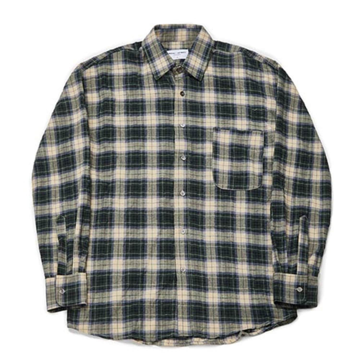 Semiover Herringbone Check Shirts (Green)