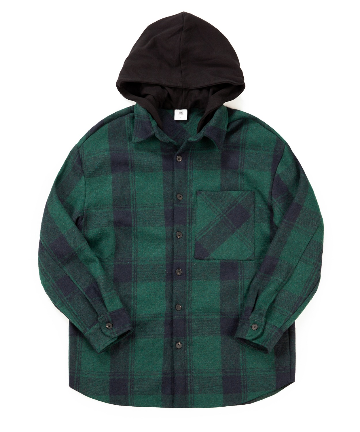 Hood Check Shirts Jacket - Green(50%SALE)