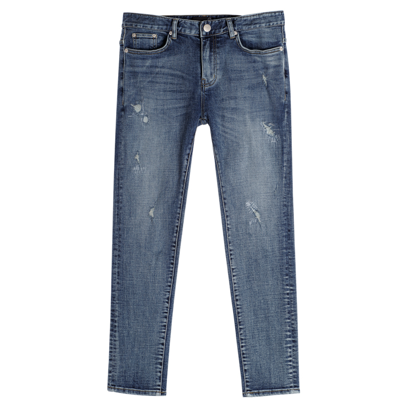 86RJ-1633 silm straight damage jeans