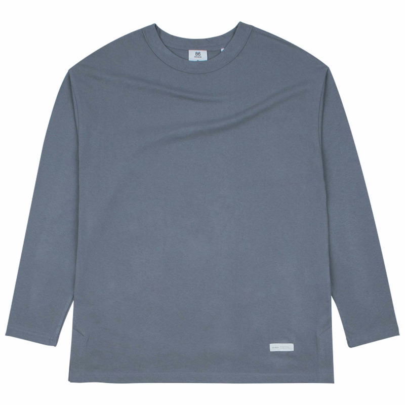 86RJ-2701 simplet loose T-shirt _greyblue