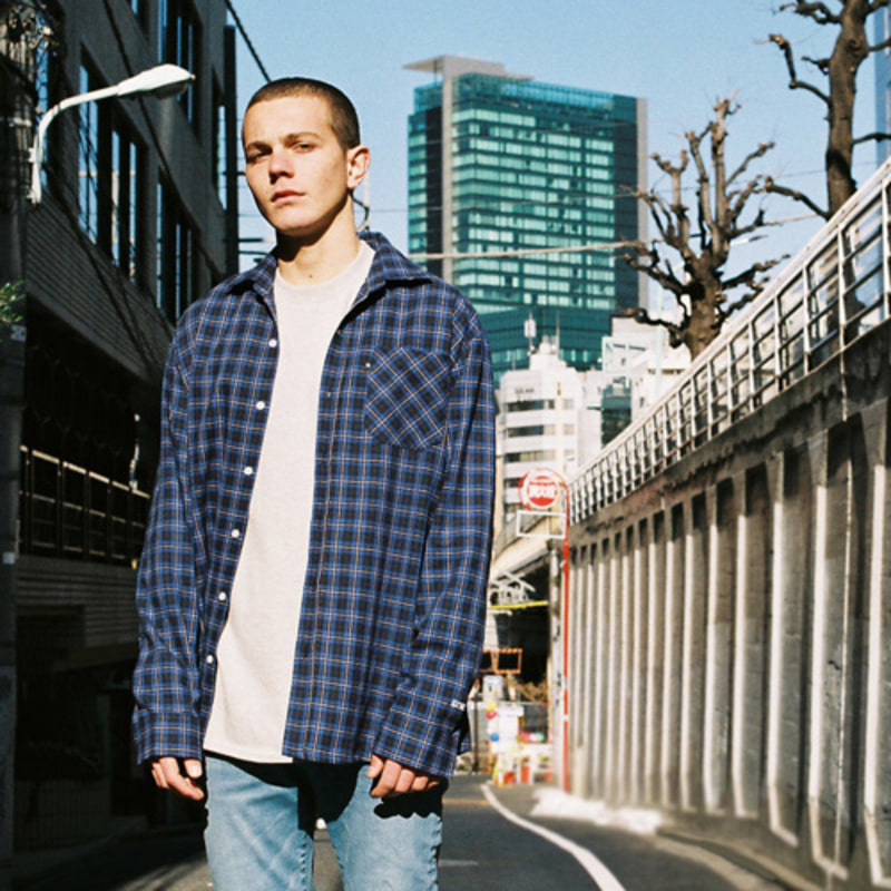 2805 Oversize check shirt(Navy)(65%SALE)