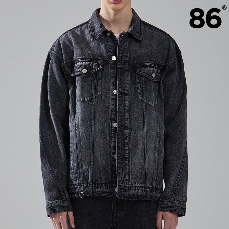 (20SS 신상) Washed cutting denim jacket (BLACK)