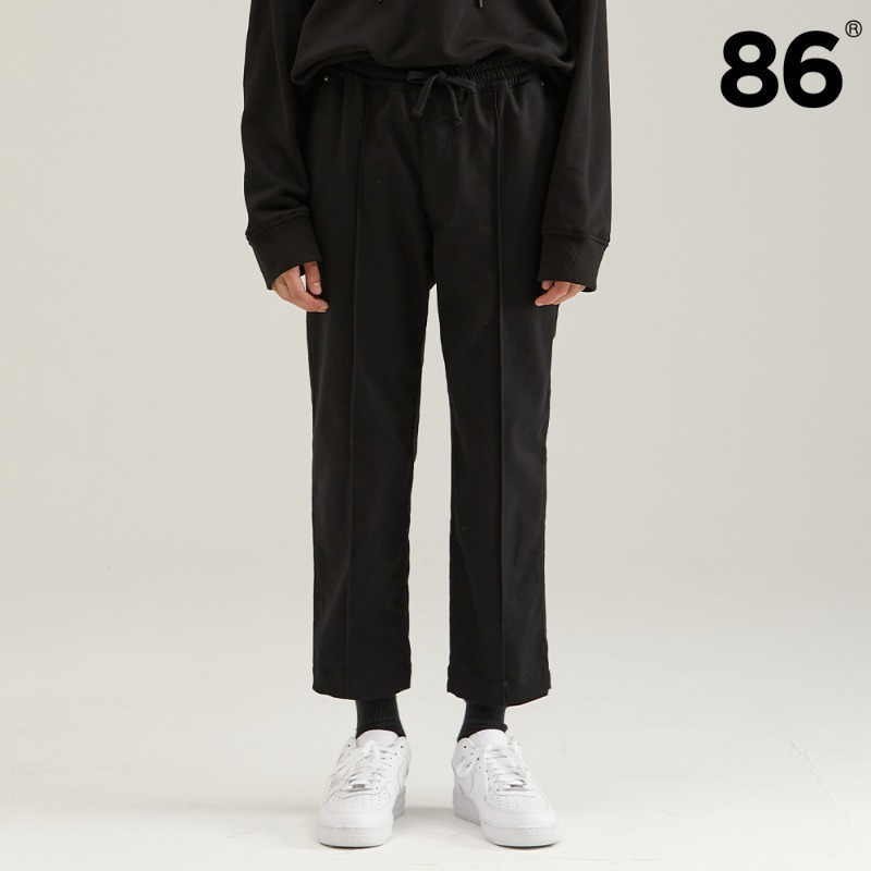 TAPERED BANDING PANTS BLACK