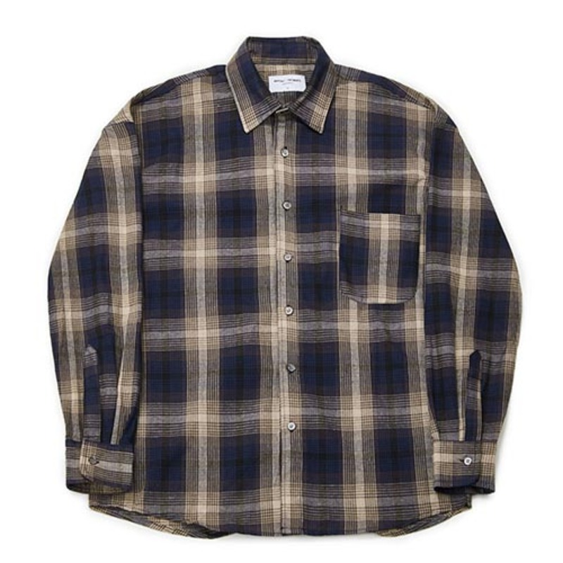 Semiover Plaid Check Shirts (Navy)